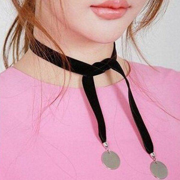 $1.58 Velvet Knotted Disc Choker Necklace