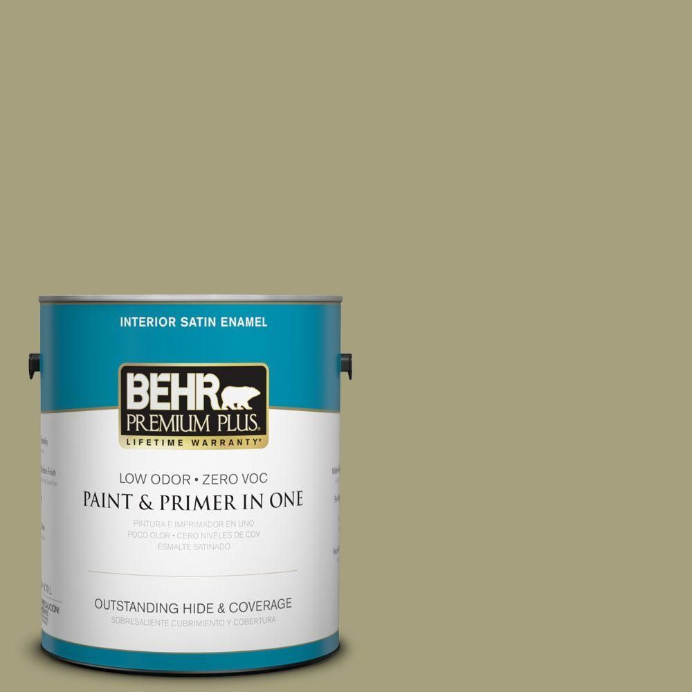BEHR PREMIUM PLUS 1 gal Sustainable Satin Enamel Low Odor Interior Paint and Primer in One740001  The Home Depotbehr