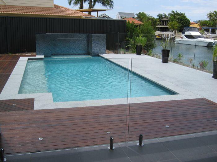 Swimming pools brisbane light grey granite coping and for Above ground pool decks brisbane
