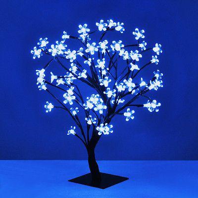 Blue Led Cherry Blossom Bonsai Sakura Tree With 72 Led Fairy Lights X2f Table Lamp Lamps Lighting Zeppy Io Twig Lights Led Fairy Lights Light Table