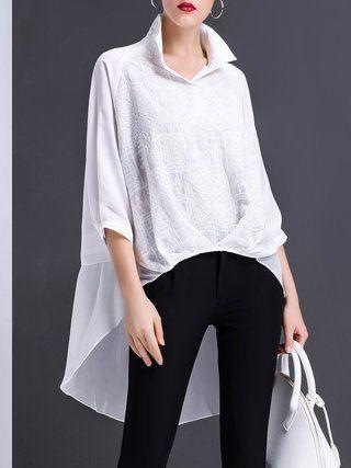 e7a599e34bf7ba White Asymmetrical Shirt Collar Long Sleeve Silk-blend Folds Tunic White  Shirts