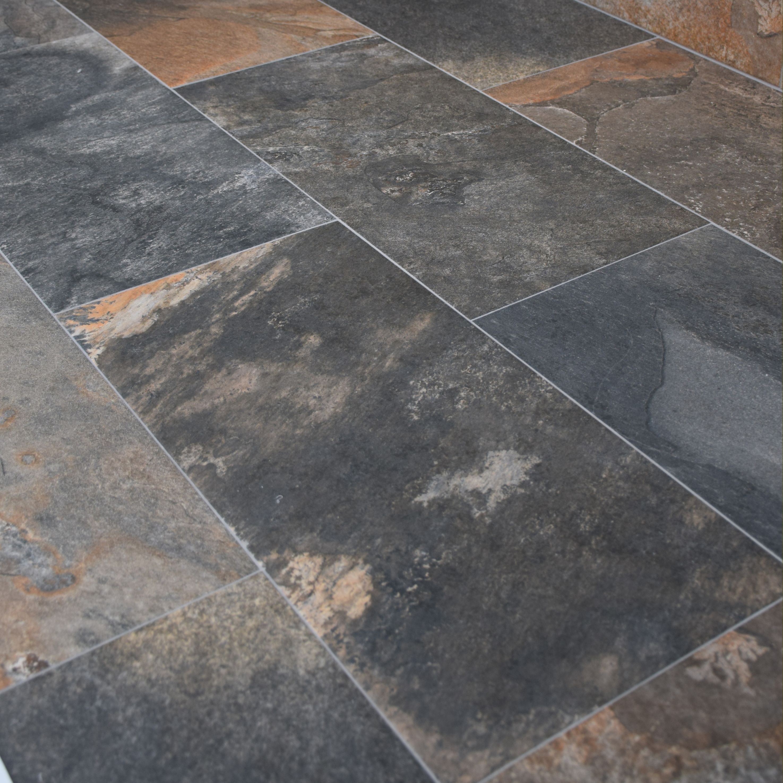 Natural Slate Effect Porcelain Multicolour 30x60cm Kitchen Floor Tileskitchen
