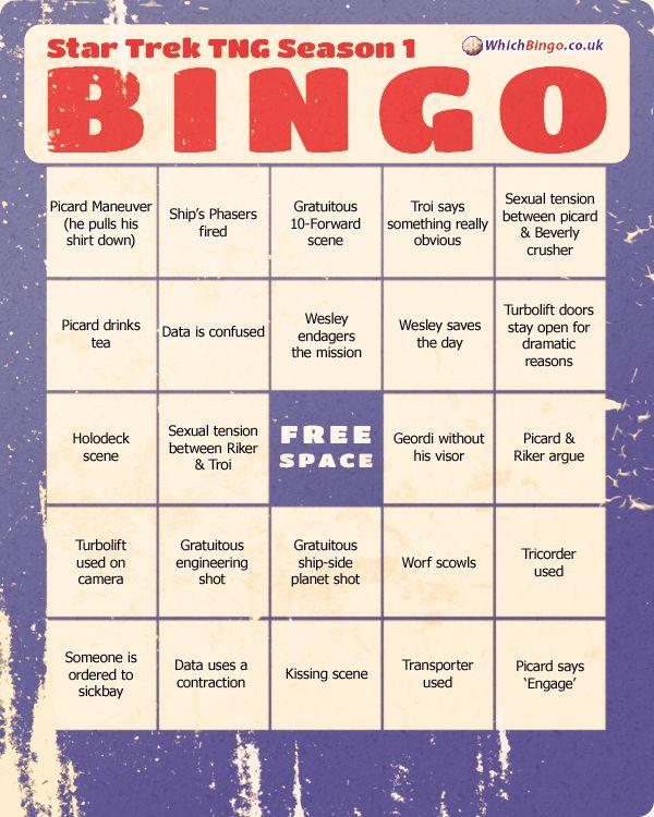 Star Trek TNG Season 1 » Bingo Cards | cards | Pinterest | Star trek ...