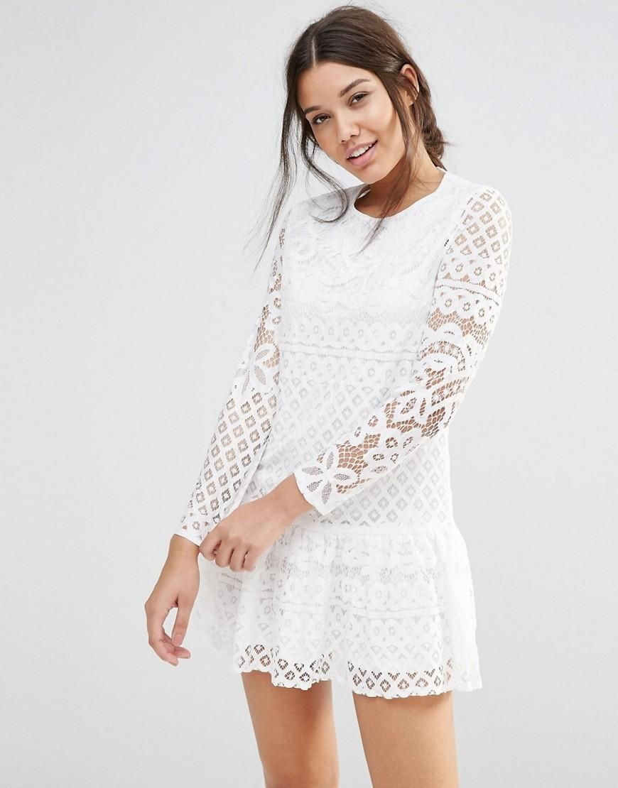 Missguided Missguided Long Sleeve Frill Hem Lace Dress At