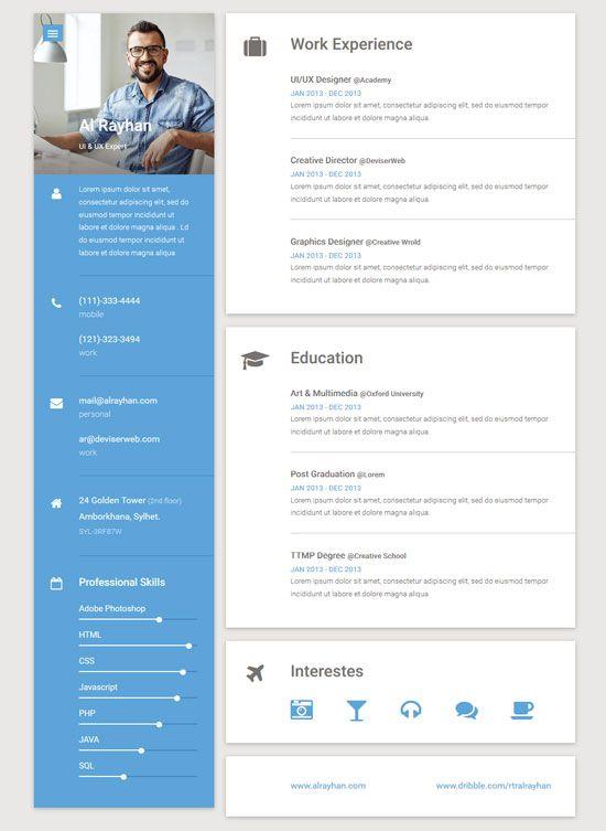 Material Personal Portofolio Responsive Cv Vcard Html Template Online Resume Template Online Resume Resume Template