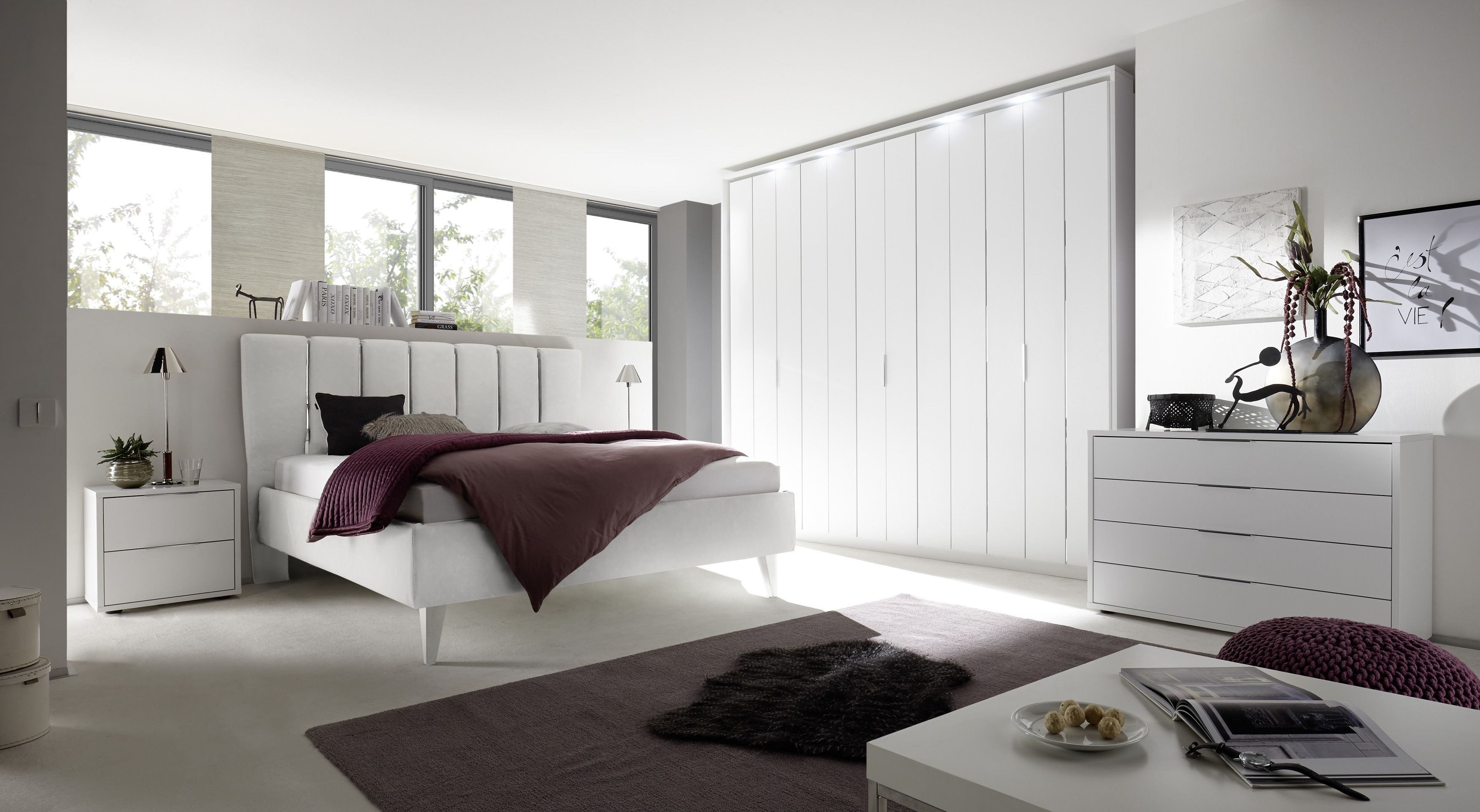 Schlafzimmer Mit Bett 180 X 200 Cm Weiss Matt Lackiert