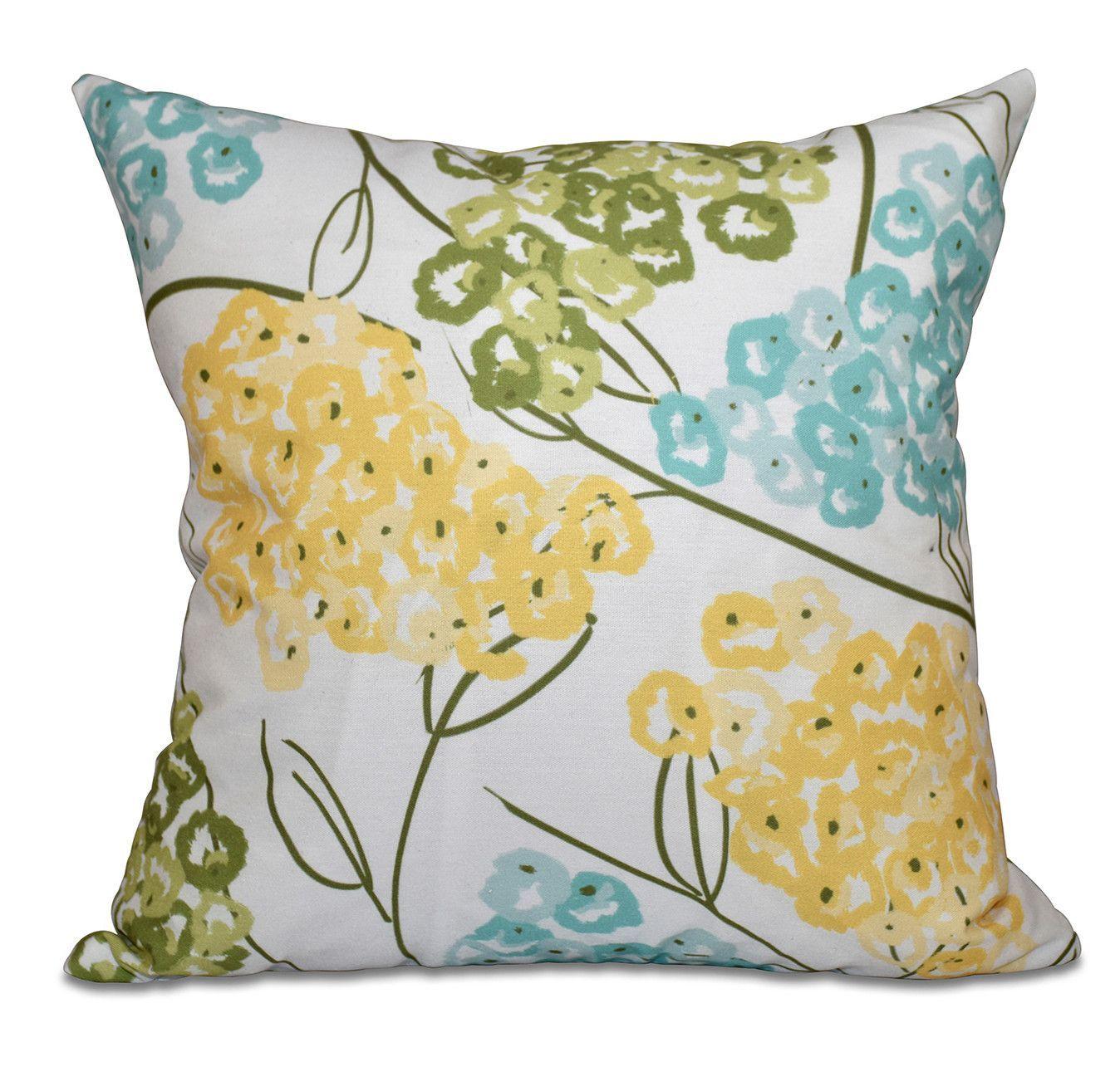 Chenango hydrangeas floral print outdoor throw pillow outdoor