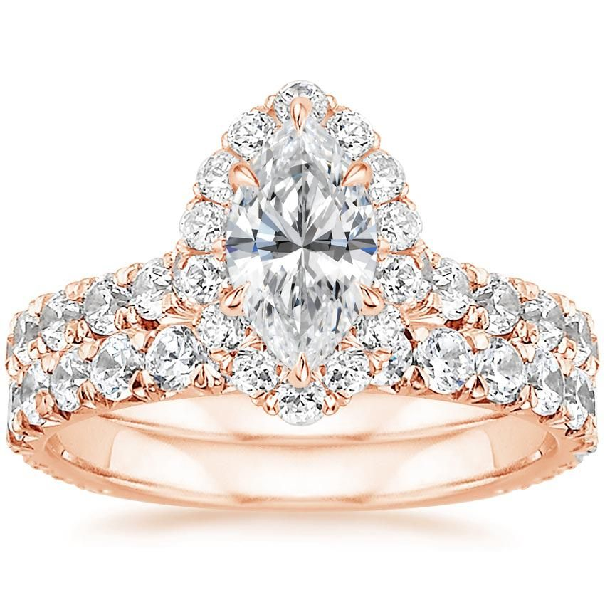 Marquise Cut Luxe Sienna Halo Diamond Bridal Set Engagement Ring - 14K Rose Gold