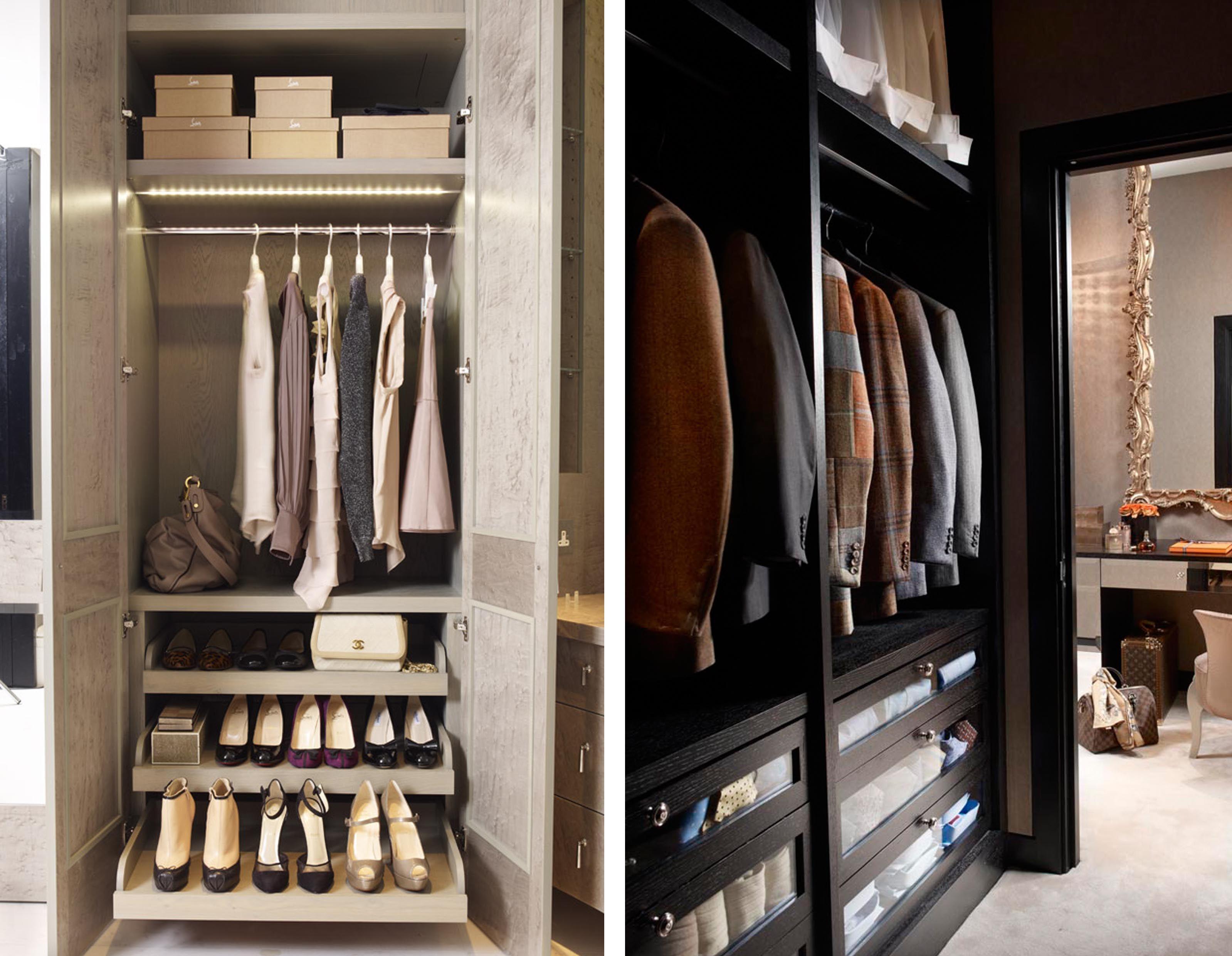 Loft bedroom with walk in wardrobe  Bespoke wardrobe design by Richwood London for Oliver Burns  Cole