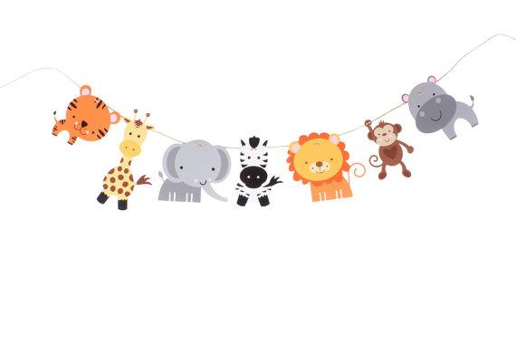 Jungle Animal Garland Banner Safari Banner Zoo Animal Etsy Safari Banner Jungle Animals Zoo Animals