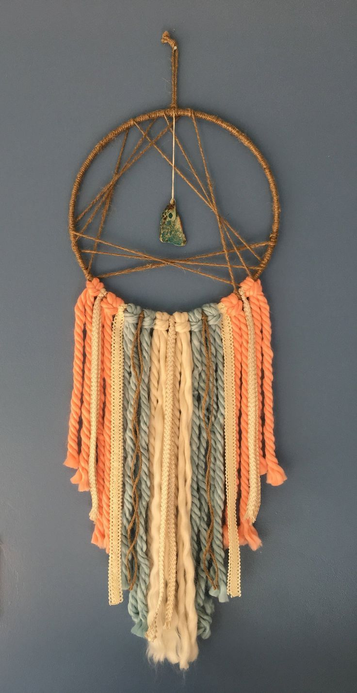 Photo of Geometric Triangle Dreamcatcher, Dream catcher wall hanging, Boho, Shabby chic wall art, Driftwood dreamcatcher, Boho nursery, Coral, Blue