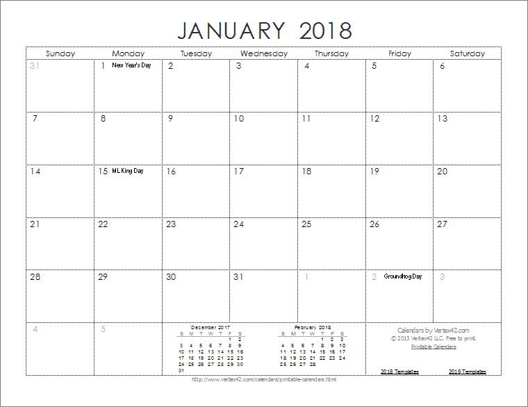 Download the 2018 Ink Saver Calendar from Vertex42.com ...
