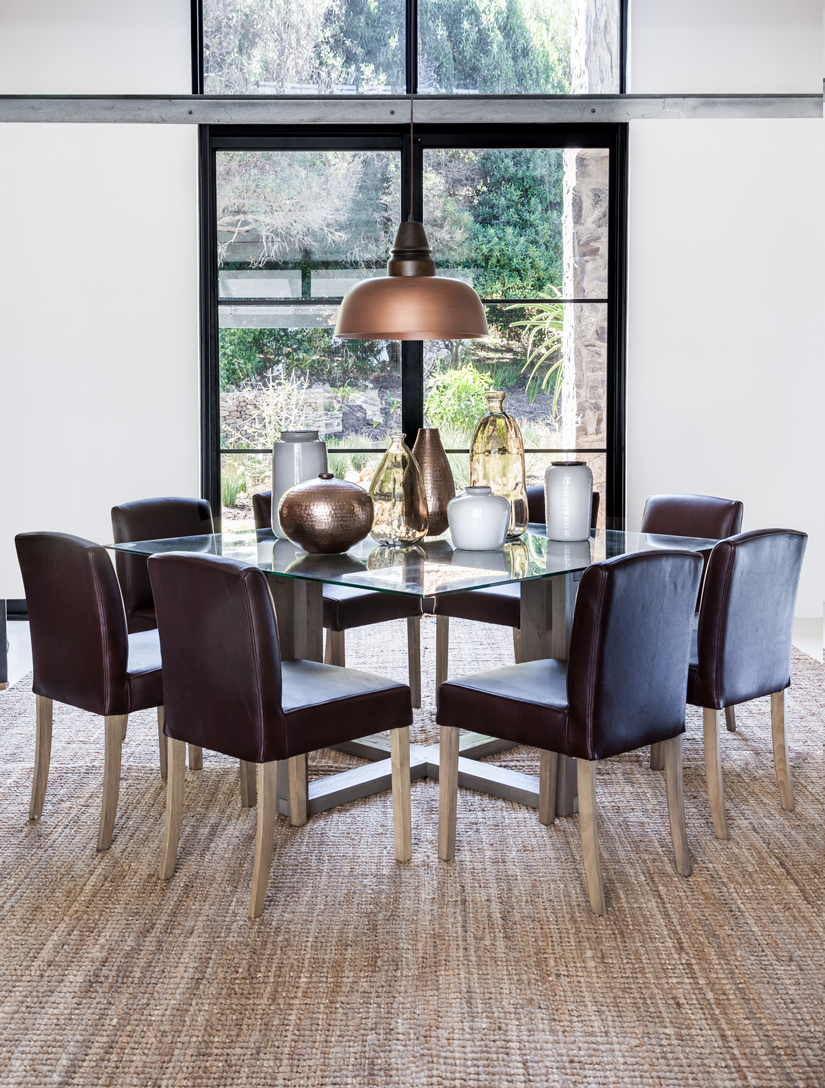 Cooper Glass Dining Table Samuel Leather Dining Chairs Classic