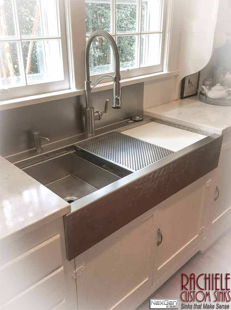 Custom Stainless Steel Farm Sink With Integral Faucet Deck And Backsplash 41 1 2 Long Hand Hammer Stainless Steel Farm Sink Farm Sink Farmhouse Sink Kitchen