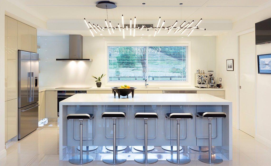 Kitchen: Modern Bright Kitchen Design Black Kitchen Island With ...