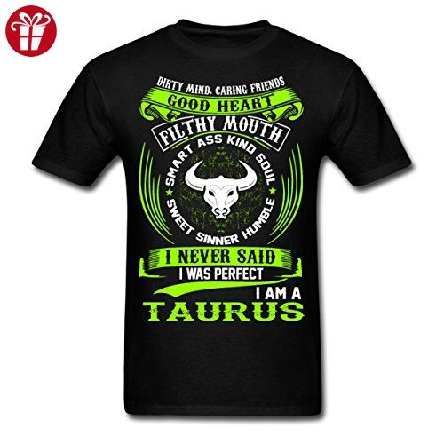 Taurus Zodiac Signs Funny Quote Never Men's T-Shirt by Spreadshirt, XL, black (*Amazon Partner-Link)