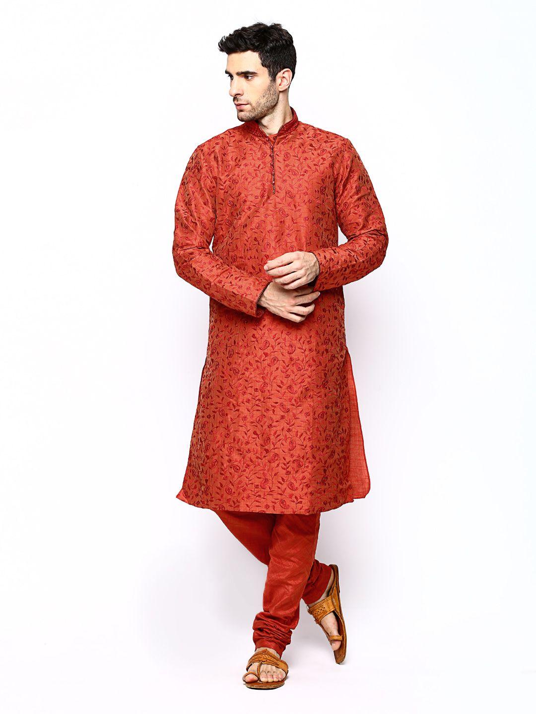 2b7686faf6 Buy Manyavar Men Rust Orange Embroidered Kurta Churidar - 596 - Apparel for  Men from Manyavar at Rs. 3999