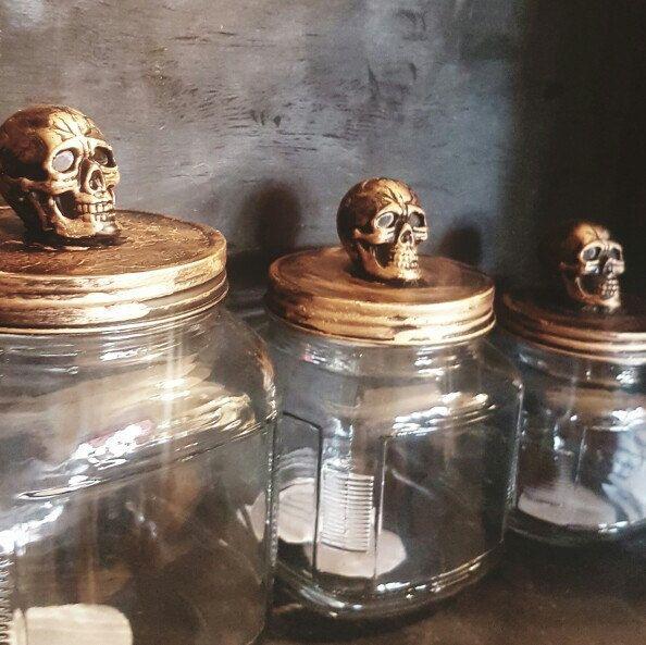 Photo of Gothic kitchen canister set, gothic decor, Creepy Christmas