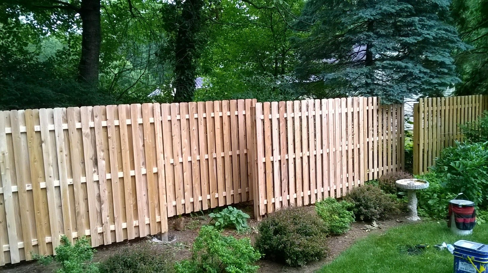 White Cedar Shadowbox Fence Staggered In This Landscape
