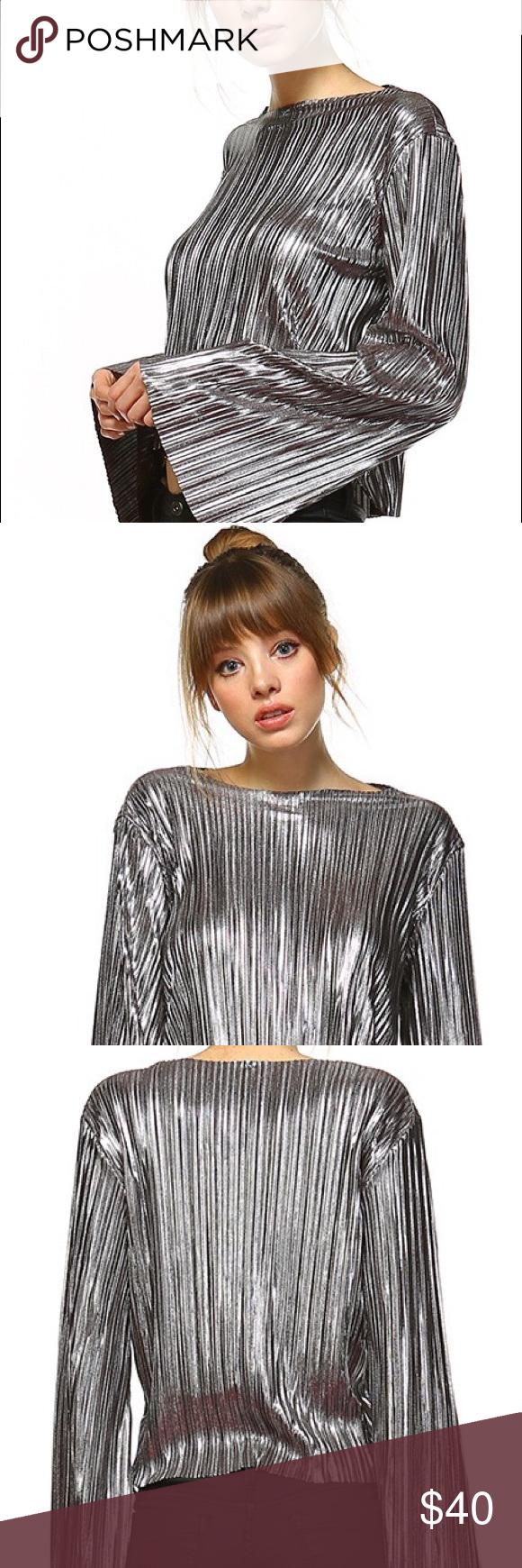 3b70d7e68d Silver Metallic Top Shirt Sequin Bell Sleeves Super Cute Premium Bell Sleeve  Silver Metallic Top.