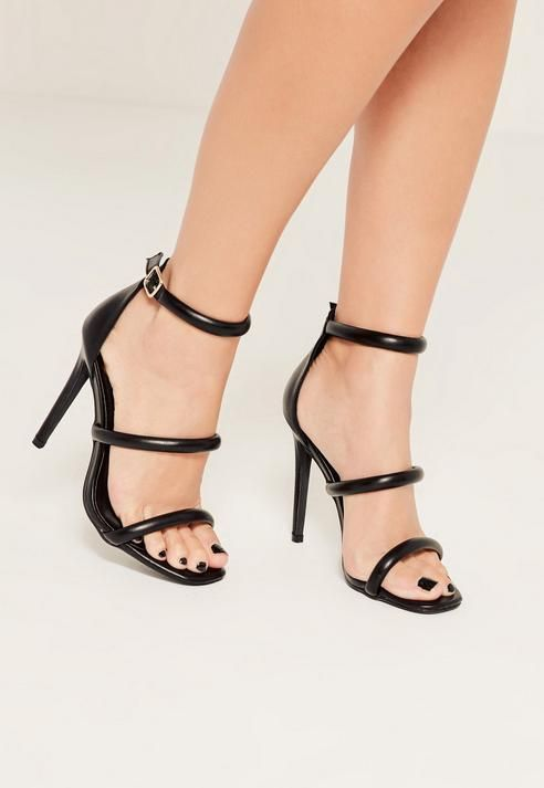 c2f08b25dac3 Missguided Black Rounded Three Strap Barely There Heels