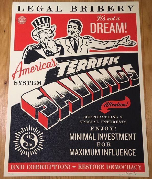 Maison de ventes aux enchères en ligne Catawiki  Shepard Fairey (OBEY) -  America s Savings (+ 5 autocollants originaux) a3181b1cc067