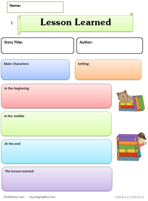 Common Core Graphic Organizer  Lesson Learned  Nd Gr Rdg