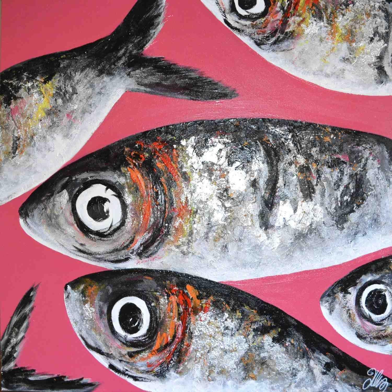 Felix murillo lleno de colores painting acrylic artwork fish art - Peinture Poissons Roses Summer Artfish
