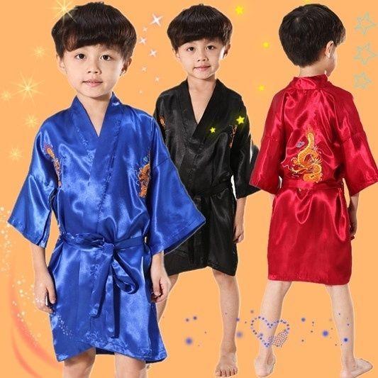 Children Kid Bath Robe Gown Pajamas Chinese Embroidered Dragon Kung Fu Nightwear #Unbranded #Robe
