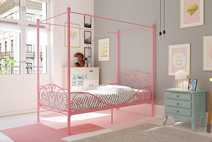 Dhp Rory Metal Canopy Pink Twin Size Bed Frame Pink Finish