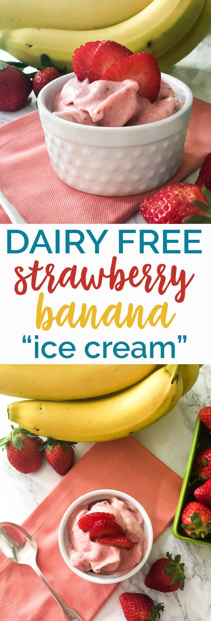Dairy Free Strawberry Banana Ice Cream #dairyfreesmoothie