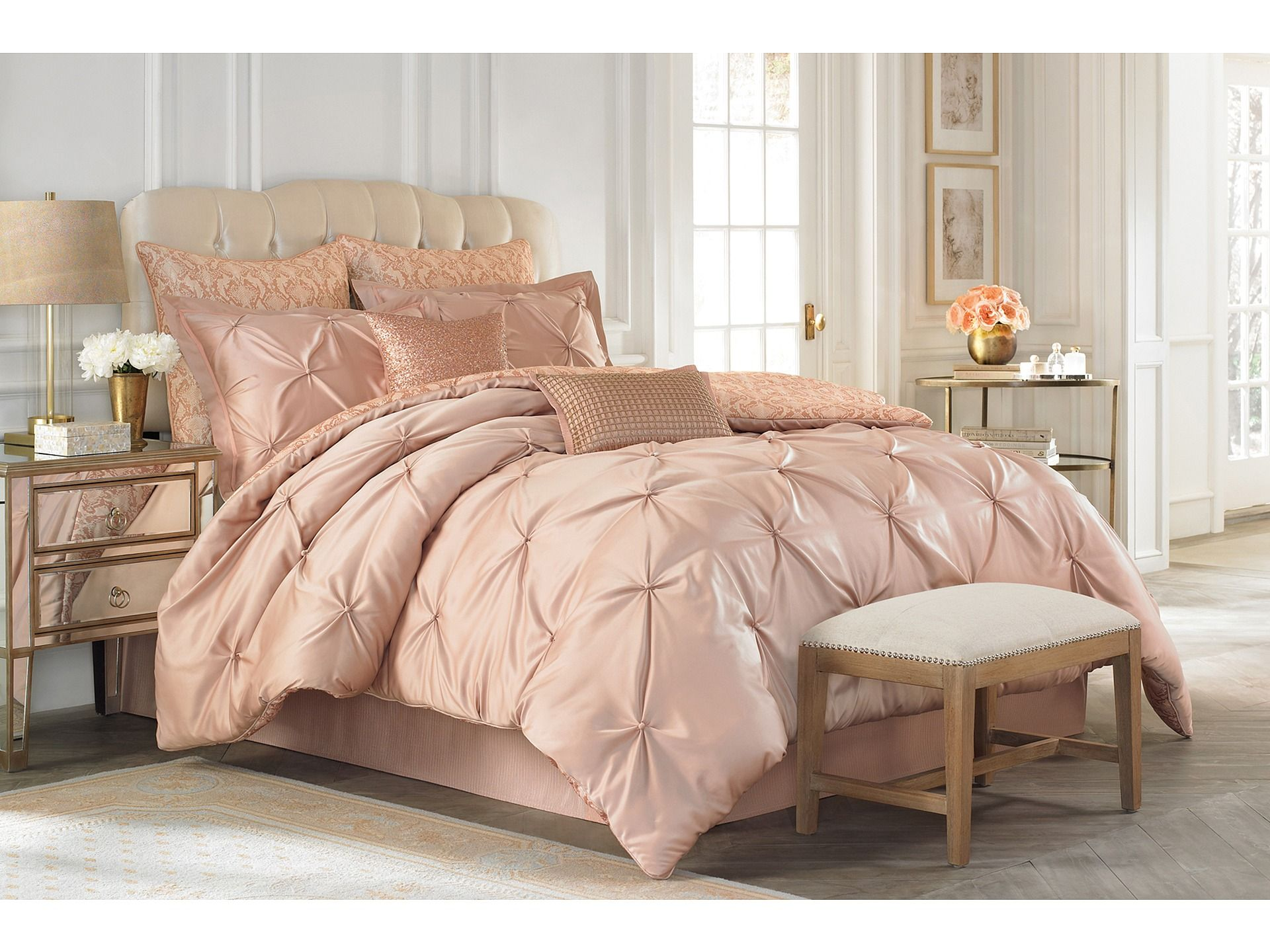 Vince Camuto Rose Gold Comforter Set Great For A Girly Bed But I Wouldn T Make My Husband Sleep Rose Gold Bedroom Decor Rose Gold Bedroom Gold Bedroom Decor