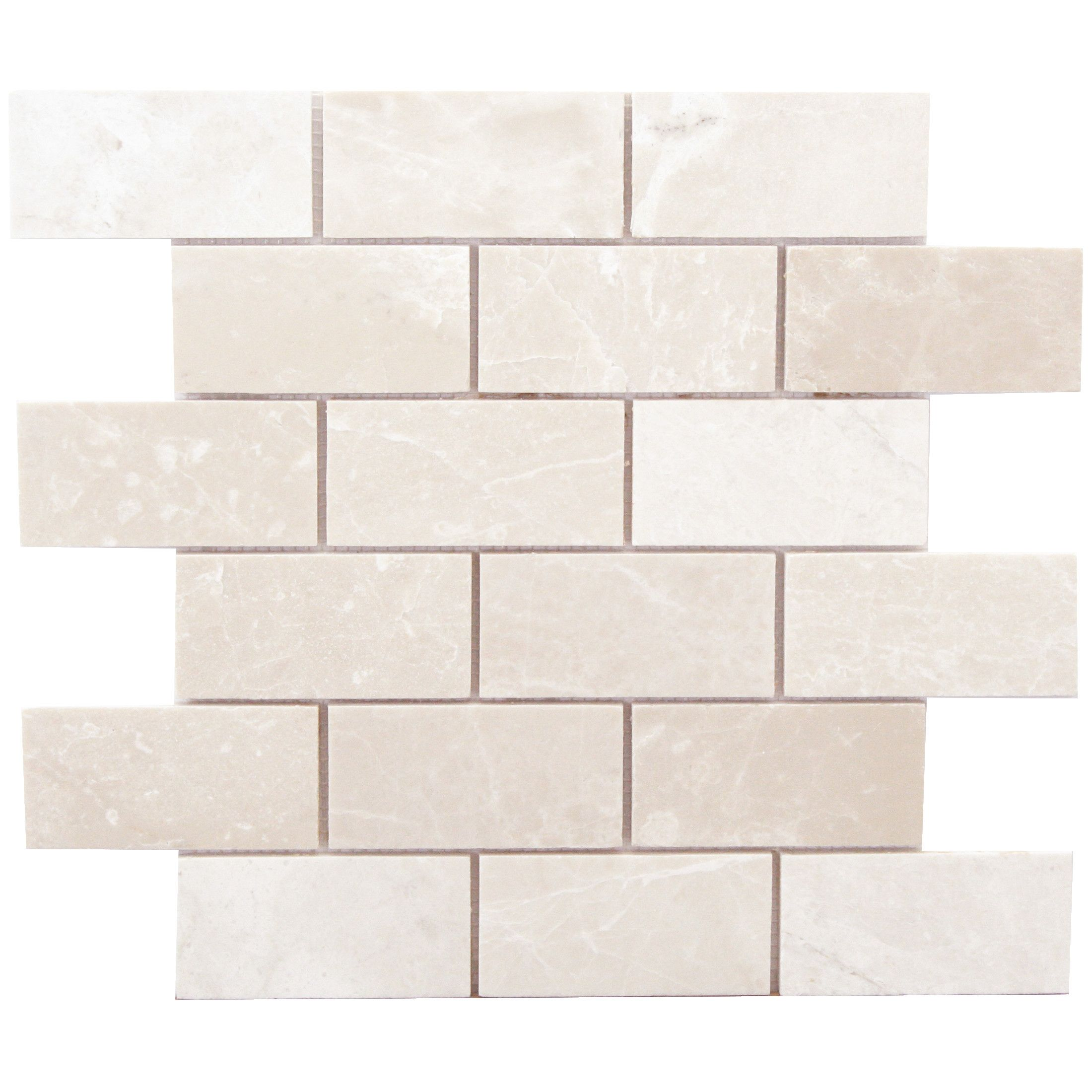 faber alara crema 4 x 2 marble brushed mosaic in light beige