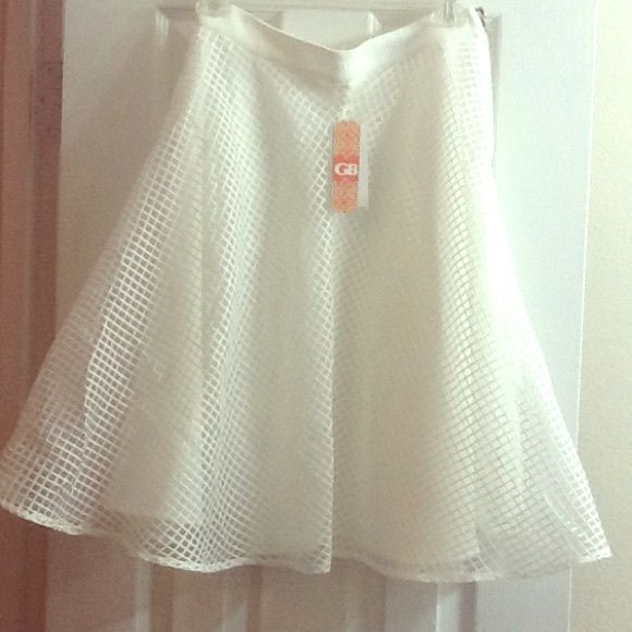 White skirt White polyester skirt. Never been worn. Has a zipper on the side. The second picture is just a close up of the material. GB Skirts