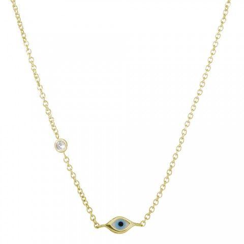 Yellow-Gold Mini Enamel Evil Eye Necklace with Bezel-Set Diamond | Sydney Evan $430
