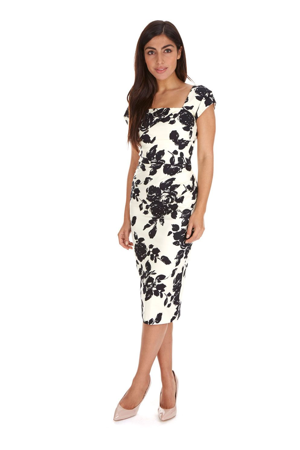 b55094280c Cara Cream   Black Rose Pencil Dress