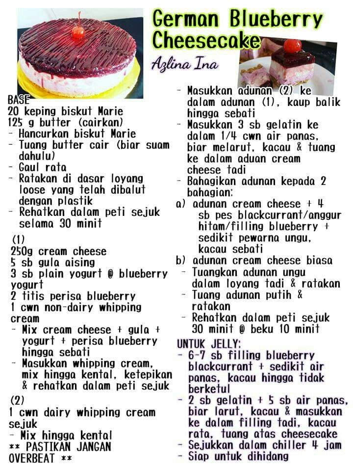 German Blueberry Cheesecake Azlina Ina Recipe In 2019