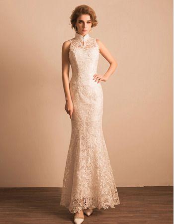 Find custom sheath mandarin collar floor length lace reception ...