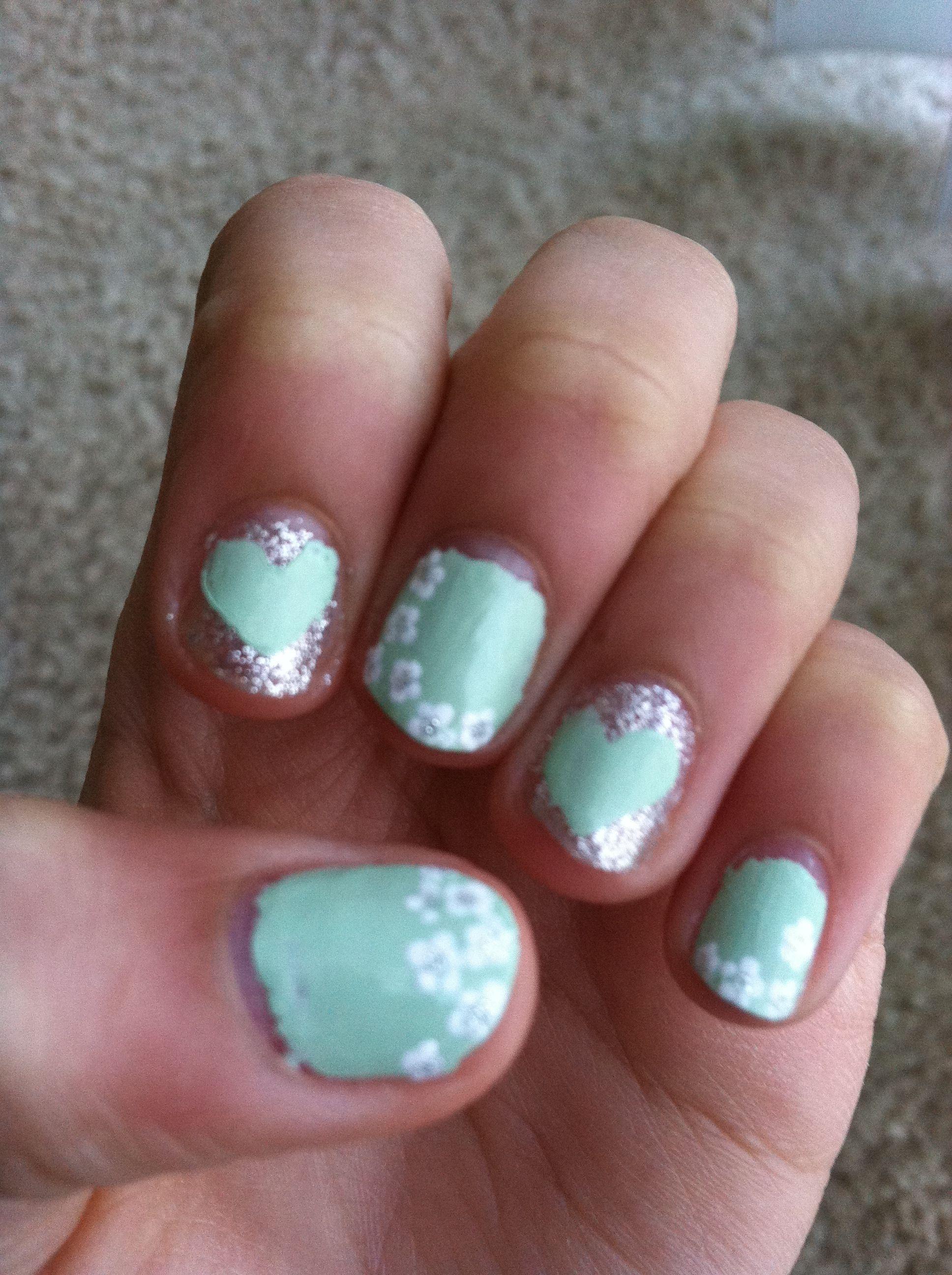 Mint Green Nail Design Nail Designs Pinterest Green Nail