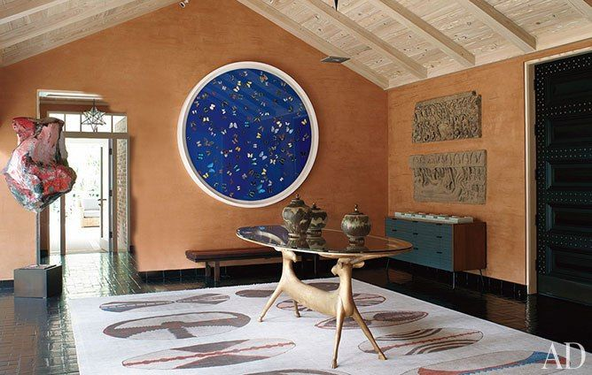 Peter Marino featuring Damien Hirst artwork and A table by the Lalannes