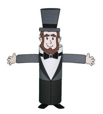 Manualidad con rollo de papel higiénico Abraham Lincoln ...
