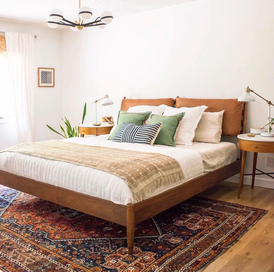 Bedroom With Modern Bed Frame Persian Carpet Unique Light Fixture Neutral To Mid Century Modern Bedroom Design Modern Bedroom Design Modern Eclectic Bedroom
