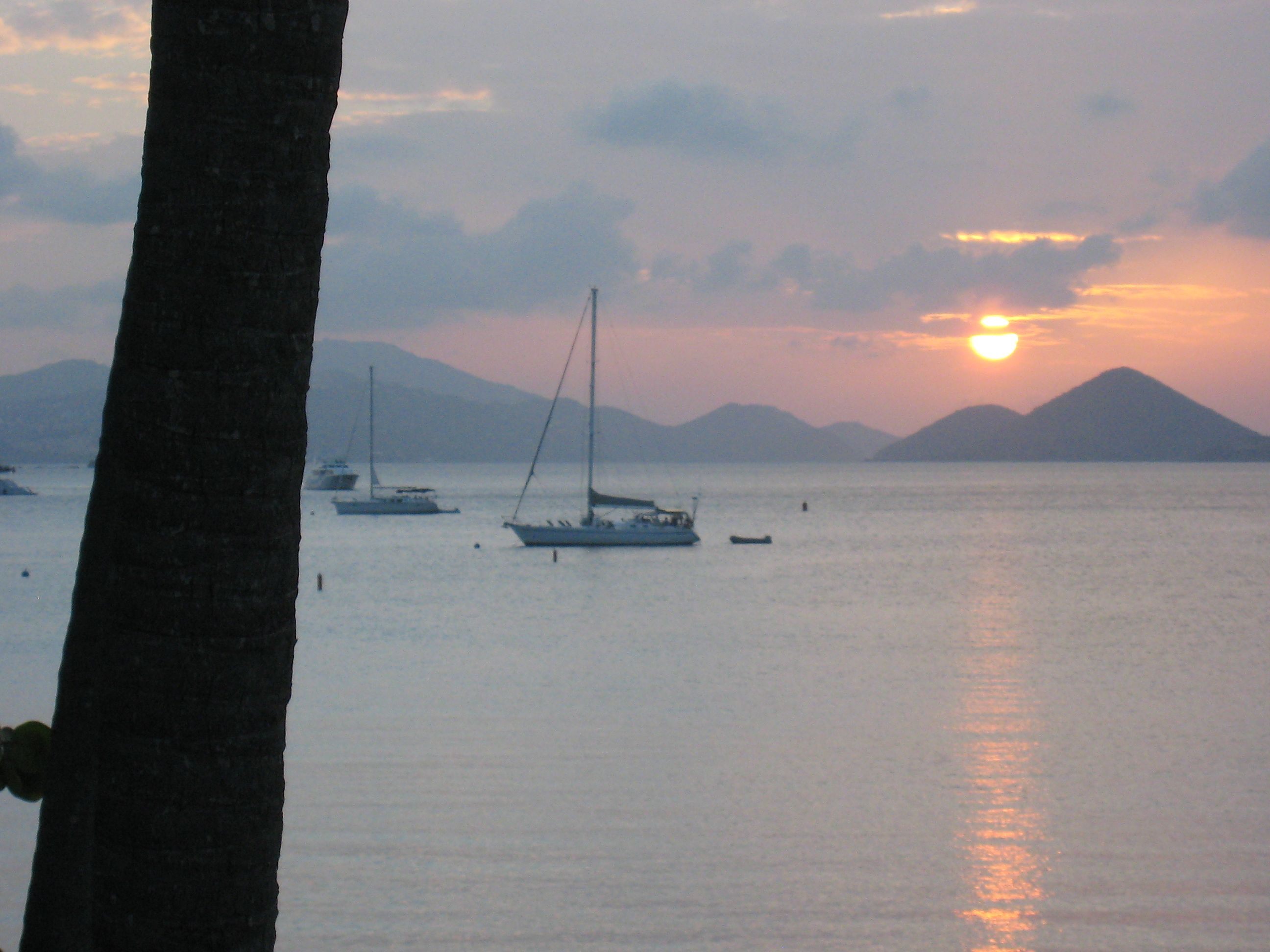 Sunset view over Caneel Bay