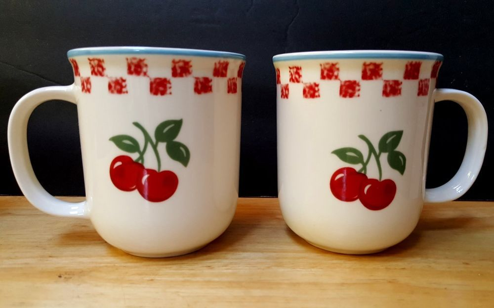 2 Mainstays Cherry Orchard Coffee Mugs Red White Checks Farm Stand Country Style