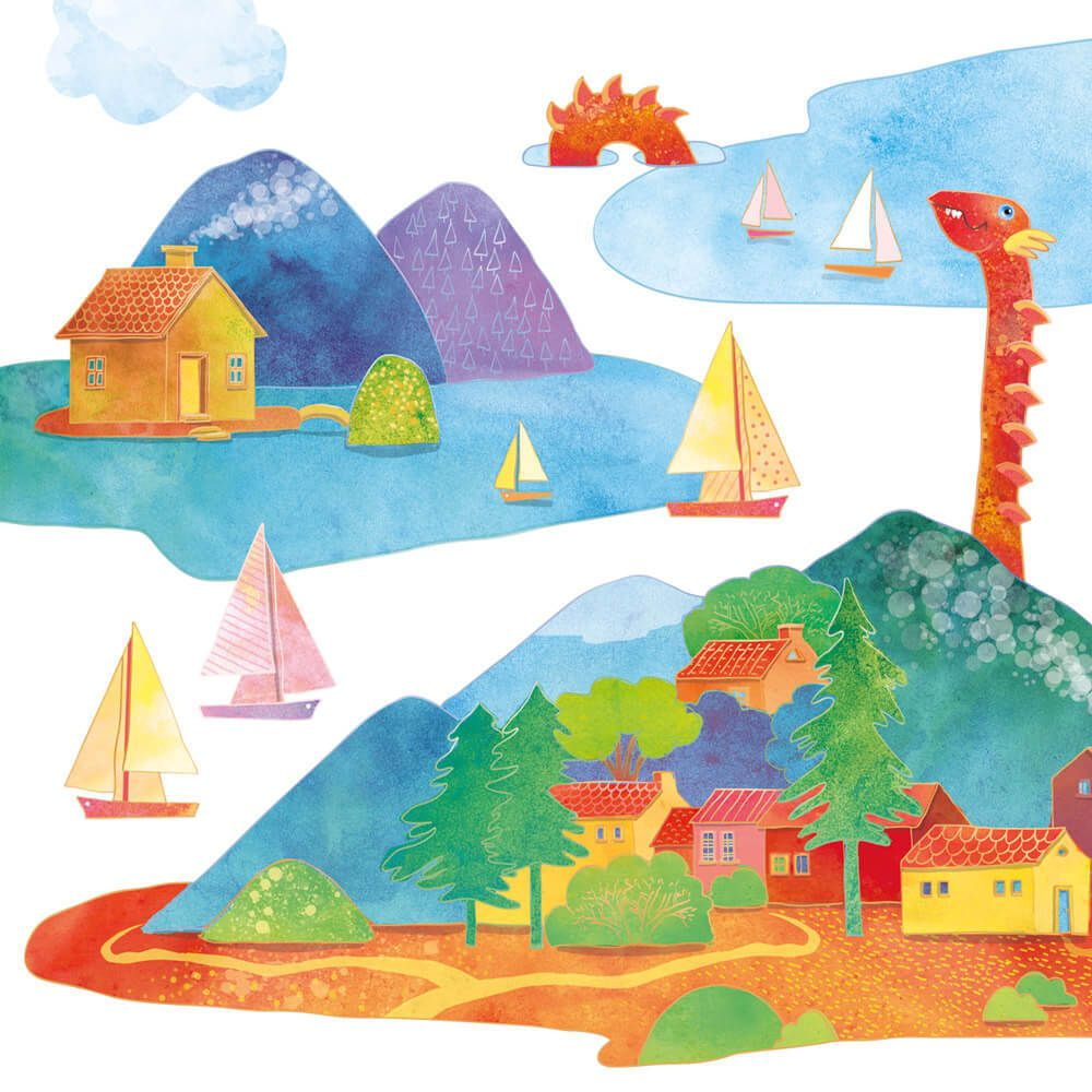 Each island – highly individual fabric wall decal. Move around the room and tweak the order of the whole archipelago!