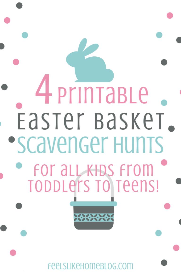 4 Free Printable Easter Basket Scavenger Hunts for Kids of