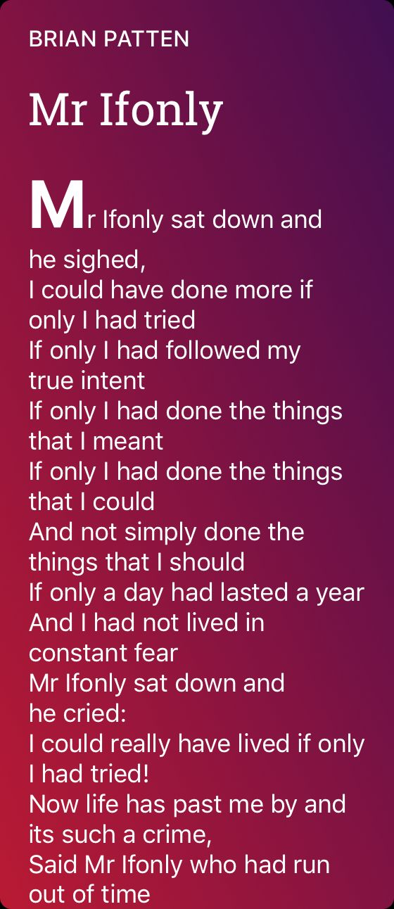 Mr Ifonly Poem By Brian Patten Poem Hunter Poems Poetry
