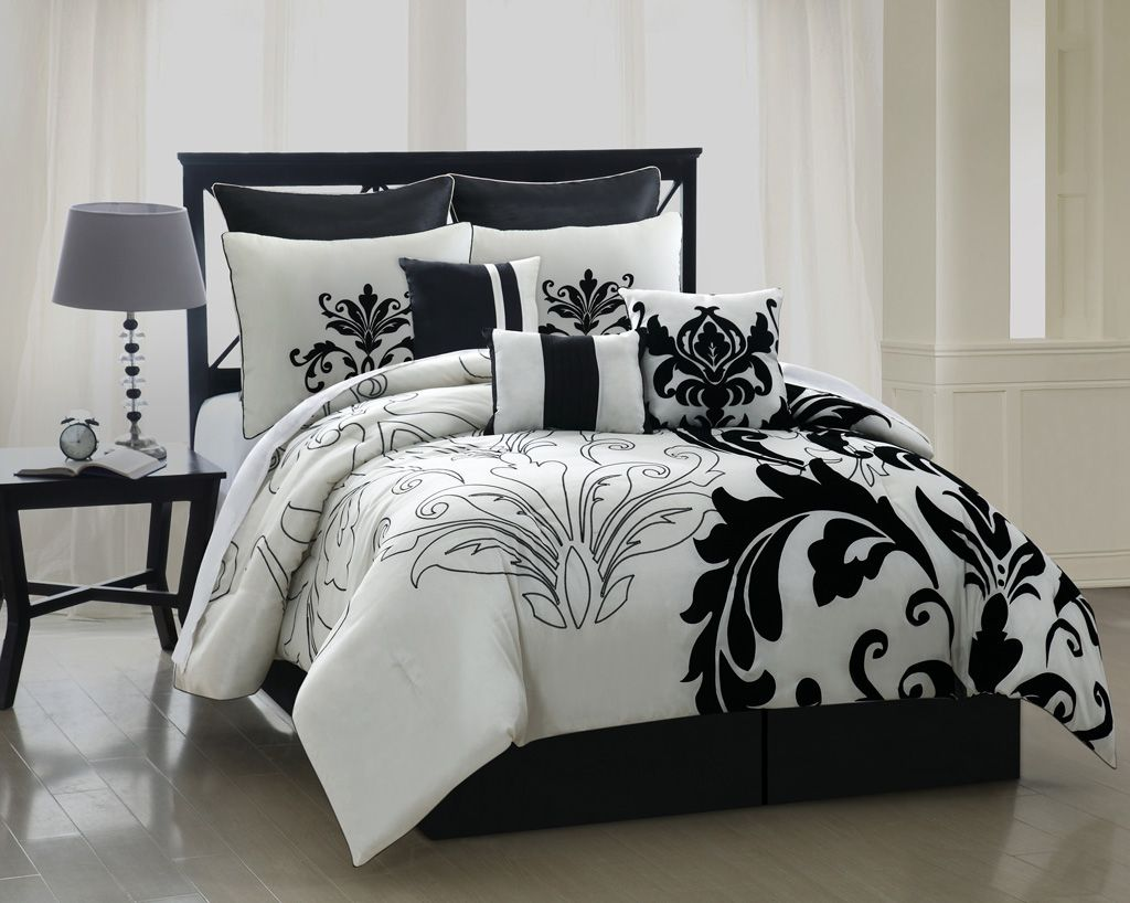 Bed sheets designs white - The White Is A Shimmery Pearl And The Large Black Floral Design Is Velvet Well Worth The Price 13 Piece Cal King Arroyo Black And White Bedding
