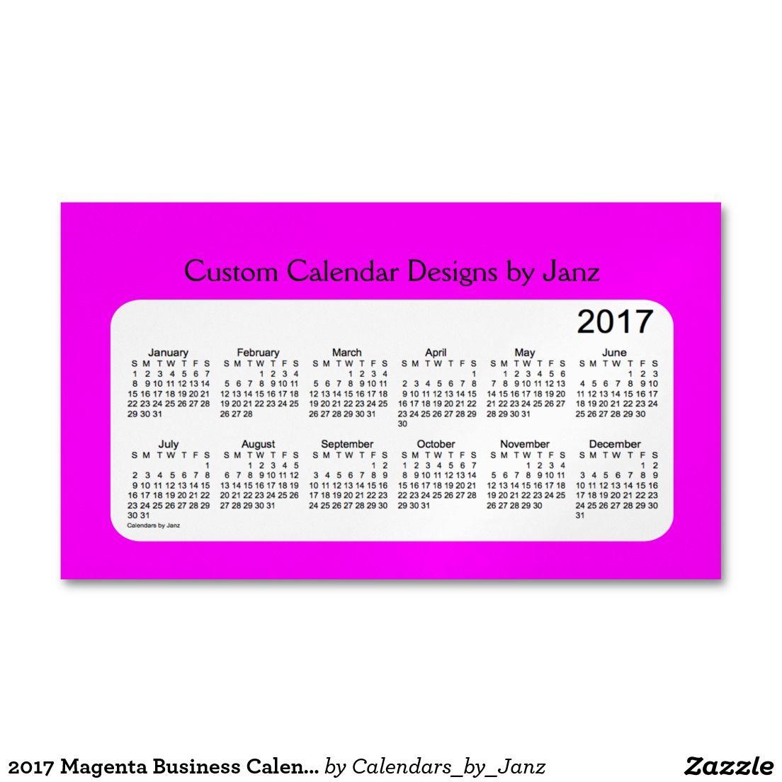 2017 Magenta Business Calendar by Janz Magnet Magnetic Business ...