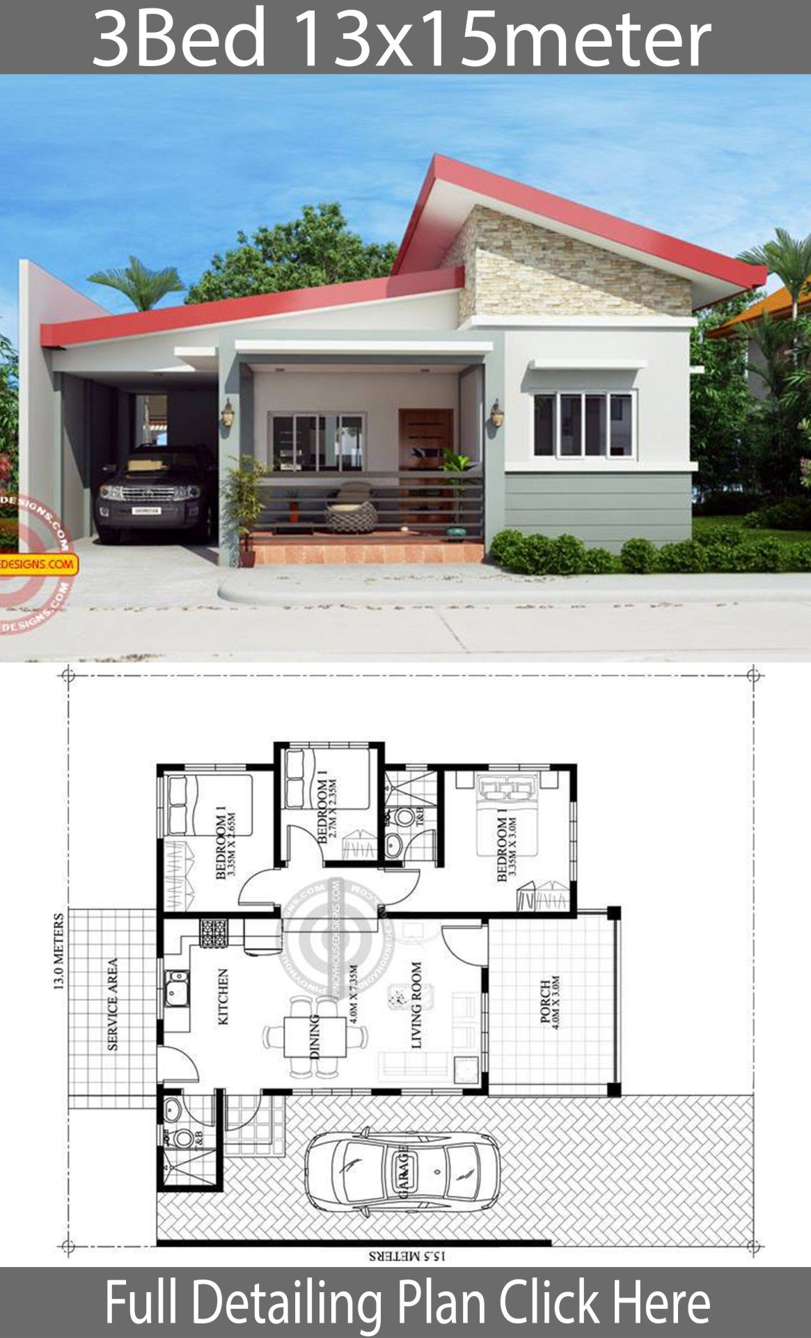Home Design Plan 13x15m With 3 Bedrooms Home Design With Plansearch House Construction Plan Home Design Floor Plans Model House Plan